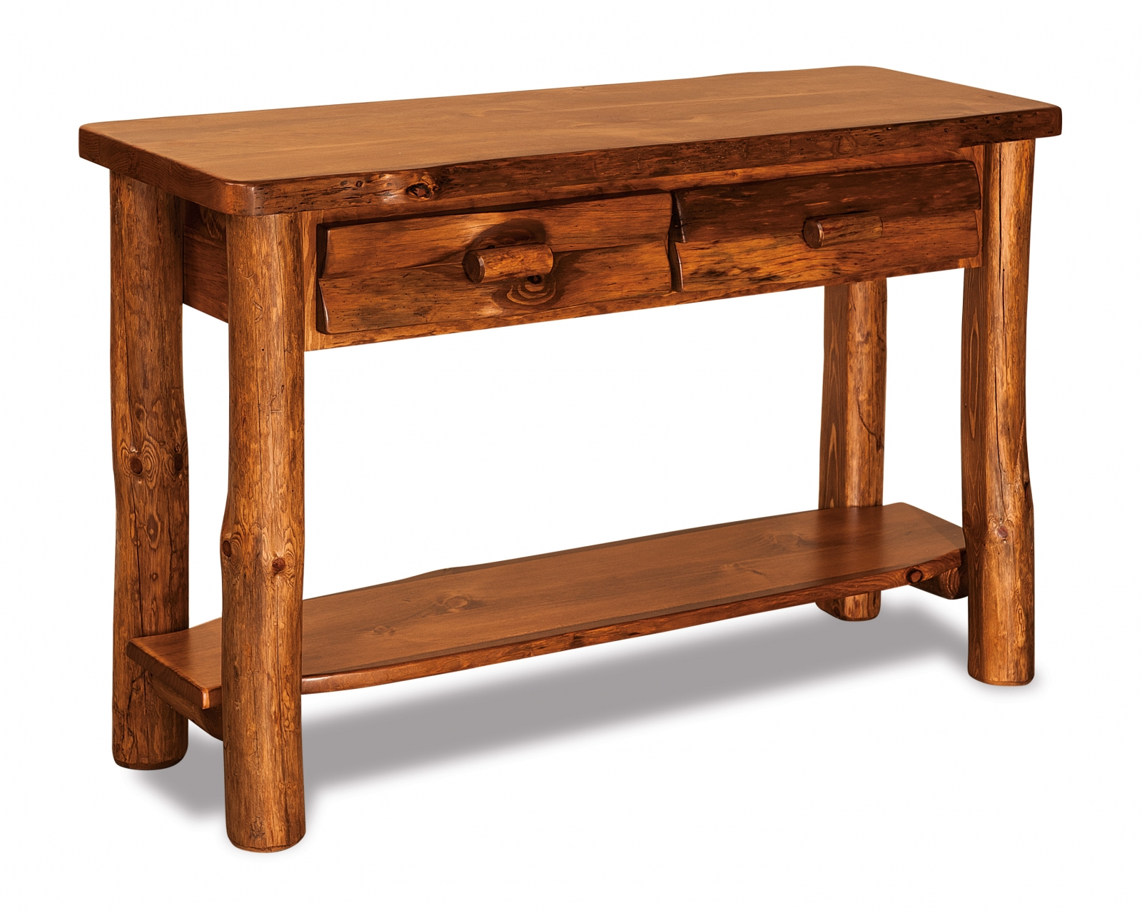 Rustic Pine Sofa Table With Drawer In SA Stain