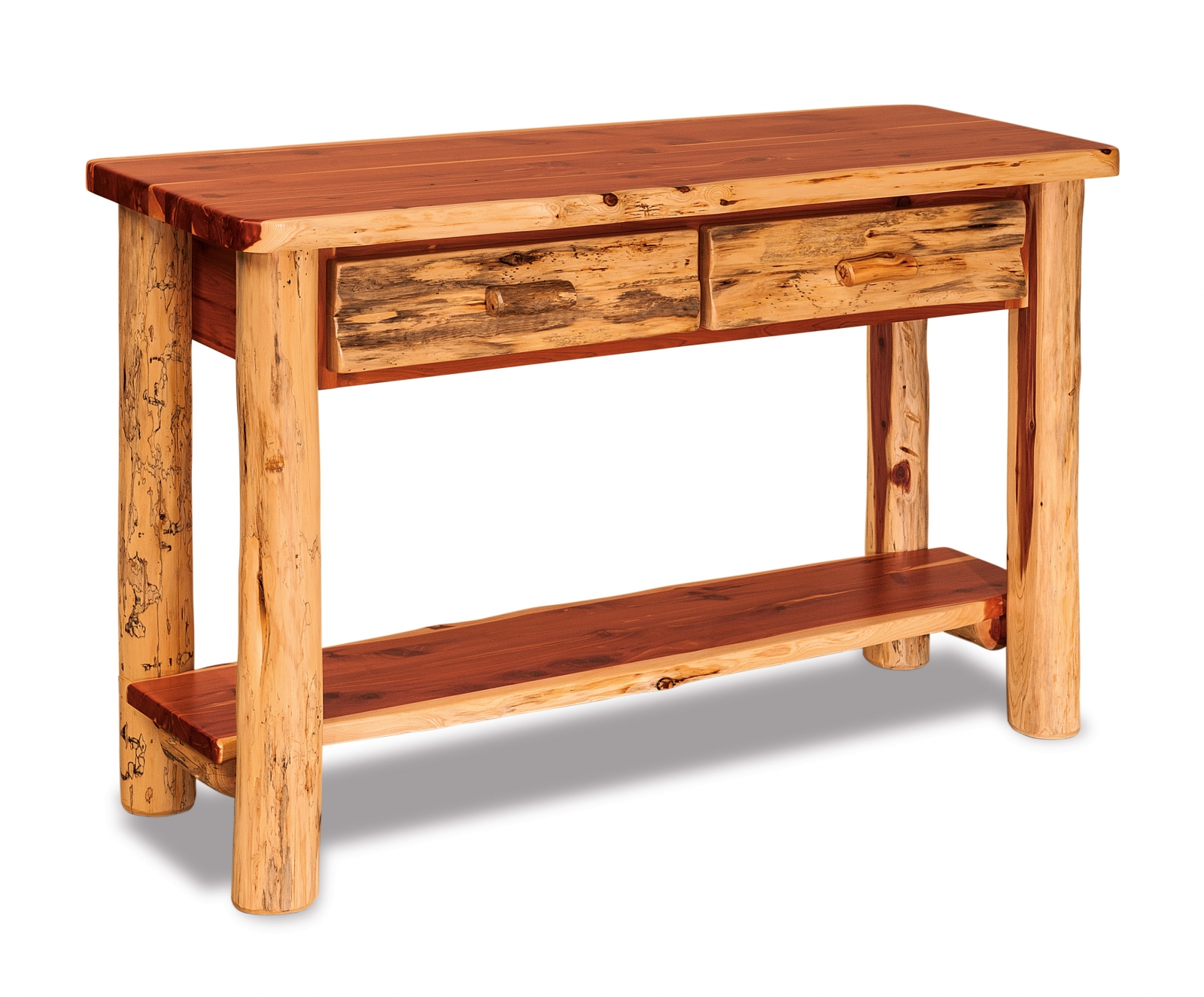 red cedar sofa table with drawer everything amish