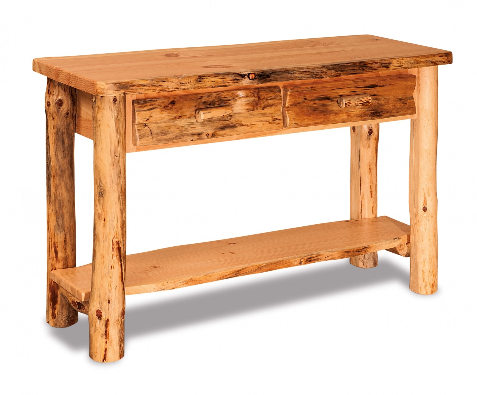 Rustic pine sofa table with drawer everything amish - Pine sofa table with drawers ...