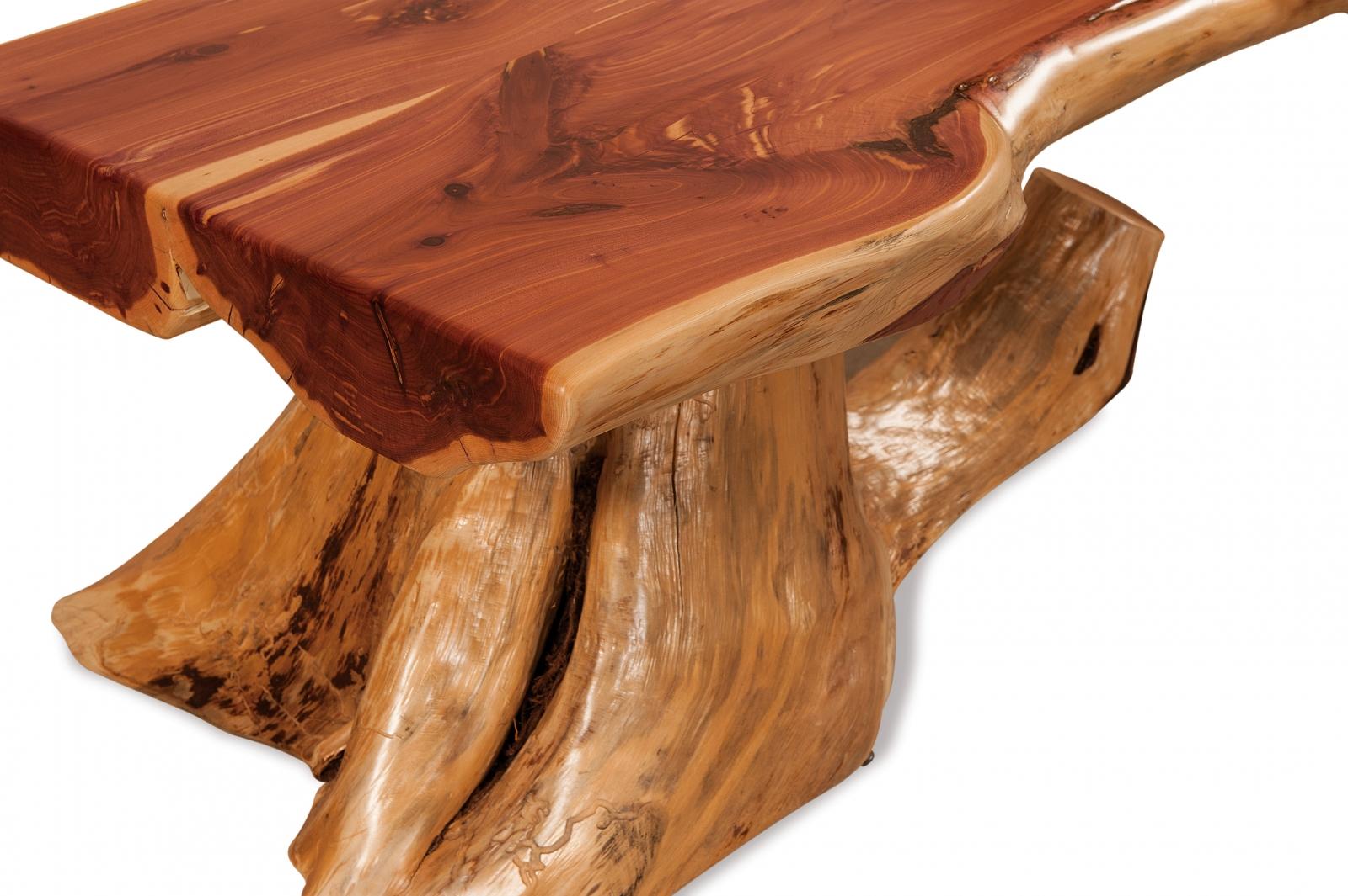 Red Cedar Stump Half Log CoffeeTable Everything Amish